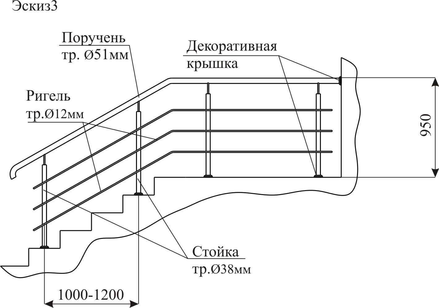 Типовые нержавеющие ограждения (перила из нержавейки) - свар.